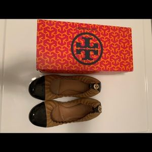 Tory Burch ballet patent leather and tan flats